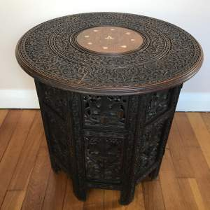 Indian Hardwood Folding Octagonal Table with Brass Inlay to Top