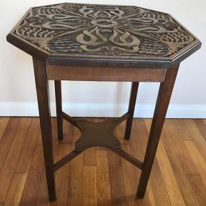 Early 20th Century Oak Octagonal Table with Carved Top