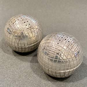 Pair of Victorian Silver Golf Ball Pepperettes