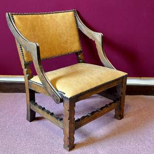Early 20th Century Small Carved Oak Chair
