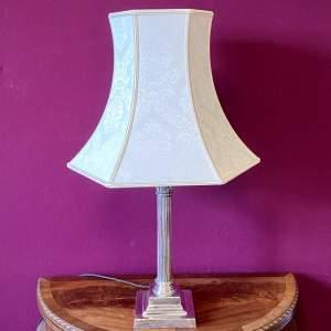 Early 20th Century Silver Plate Corinthian Column Lamp