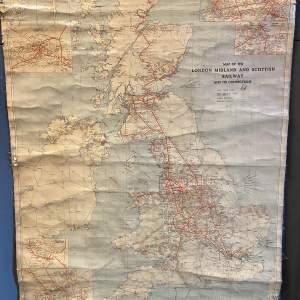 London Midland and Scottish Railway Waxed Cloth Map