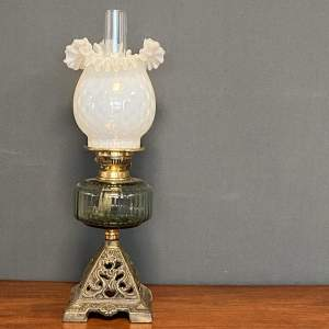 19th Century Cast Iron and Glass Oil Lamp