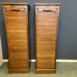 Pair of Vintage Tambour Fronted Filing Cabinets