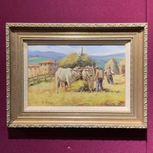 20th Century Oil on Panel of Farmers with Cattle by B Ibizici