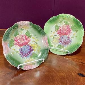 Pair of Old Foley Pottery James Kent Chrysanthemum Plates
