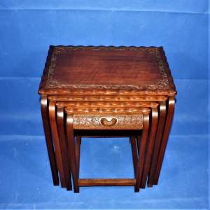 Vintage Hardwood Nest of Tables with Carved Borders