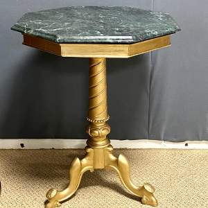 Small Octagonal Marble Top Giltwood Table