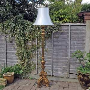 Early 20th Century Carved Gilt Wood Standard Lamp