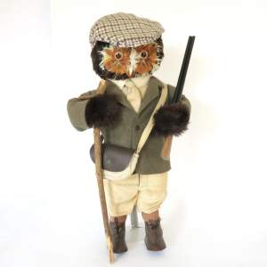 Vintage 1960s London Owl Co The Gamekeeper dressed soft Toy Owl