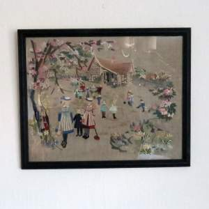 Edwardian Framed Embroidery Children at Play