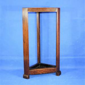 Compact Art Deco Oak Corner Stick Stand with Drip Tray