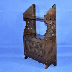 Small Carved Early 19th Century Stained Beech Wall Rack with Shelves