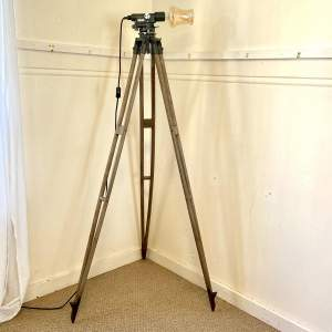 Vintage Theodolite on Wooden Tripod Upcycled Lamp