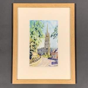 Sunny Saturday - St Peters Louth Watercolour by Toni Stefaniuk
