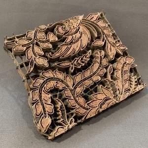 Copper Printing Block with Foliage Design