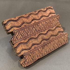 Copper Printing Block with Patterned Lines Design