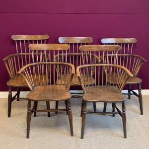 Harlequin Set of Five Victorian Windsor Comb Back Chairs