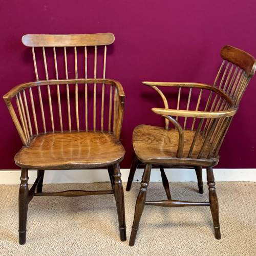 Harlequin Set of Five Victorian Windsor Comb Back Chairs image-3