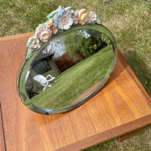 Early 20th Century Vanity Oval Mirror with Floral Decoration image-2