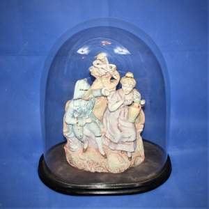 19th Century Bisque Pottery Figure Group under Glass Dome