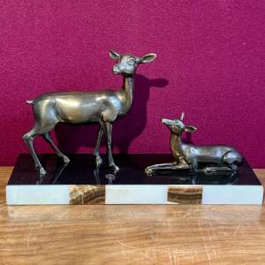 Pair of Deer on a Marble Base by C H Ruchot
