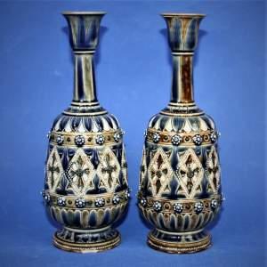A Fine Pair of Doulton Lambeth Vases