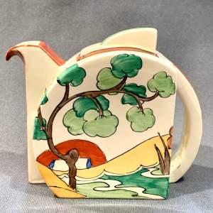 Clarice Cliff Stamford Shape Bridgewater Green Teapot