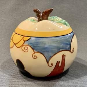 Clarice Cliff Apple Shape Summerhouse Preserve Pot