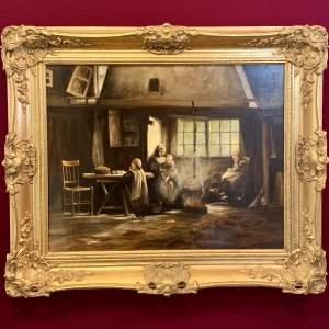 Continental J Redert Cottage Scene Oil on Board Painting