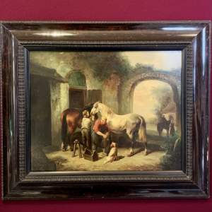 19th Century English Oil on Board of a Farrier or Blacksmith