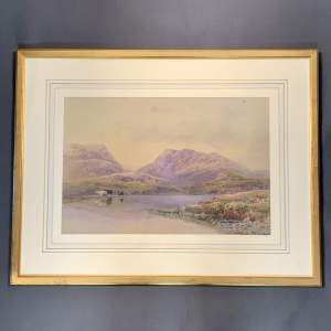 19th Century Watercolour Landscape Painting with Cattle
