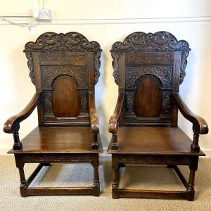Pair of Large Antique Oak Wainscot Chairs