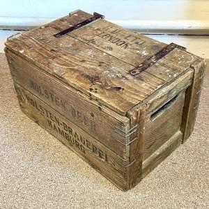 Vintage Wooden Hinged Lid Crate