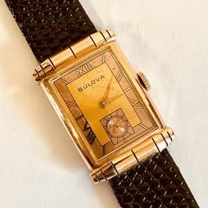 Art Deco Bulova Gents 14ct Gold Wristwatch