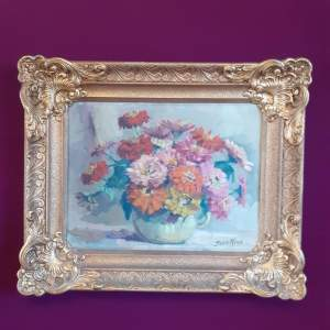 Josee Maes Mid 20th Century Oil on Canvas Floral Still Life