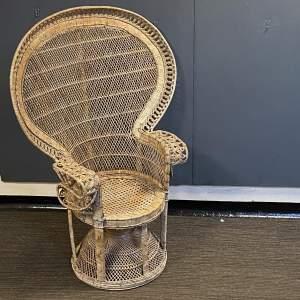 Rare Mid 20th Century Cane Peacock Chair