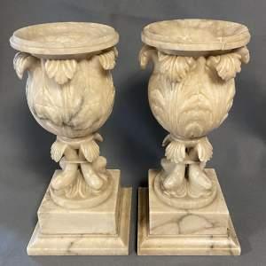 Pair of 19th Century Alabaster Mantel Vases