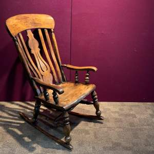 Victorian Ash and Beech Splat Back Rocking Chair