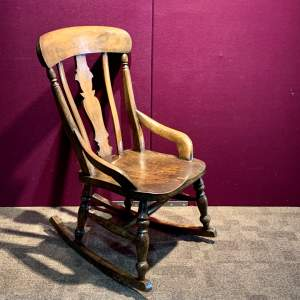 Victorian Ladies Ash and Beech Splat Back Rocking Chair