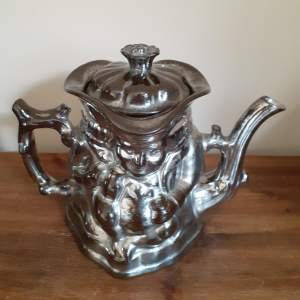 Antique 19th Century Silver Lustre Double Sided Toby Teapot Circa 1850