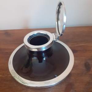 Antique Edwardian Sterling Silver and Tortoiseshell Finish Inkwell