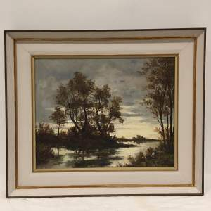Continental School River Landscape 20th Century Oil Painting on Canvas