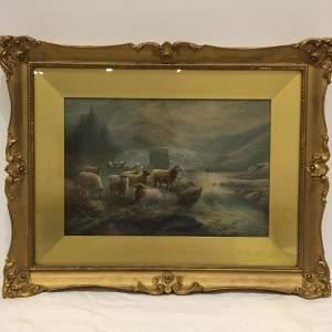 Milton Drinkwater 1860 - 1917 Watercolour Sheep in a Landscape