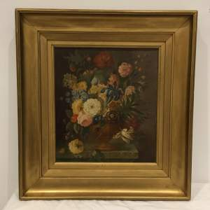 Antique Still Life Mixed Flowers and Butterfly on a Ledge Oil Painting