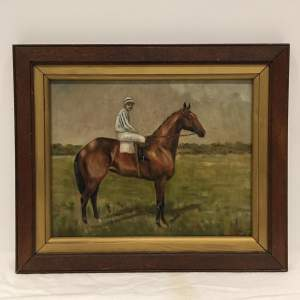 Jockey and Horse Old 20th Century Oil On Canvas Board Signed Dante