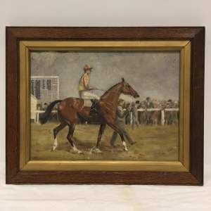 Race Day Jockey on his Horse 20th Century Oil on Canvas Board Framed