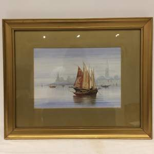 Venetian Shipping Scene Watercolour Painting Signed B Bauckham