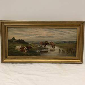 Early 20th Century Oil Painting Cattle Resting within a Landscape Frame