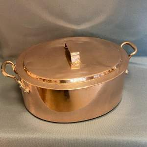Very Heavy Solid Lidded Copper Cooking Pot